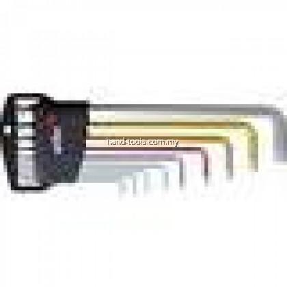 Allen key set 9-piece 1.5 mm,2 mm,2.5 mm,3 mm,4 mm,5 mm,6 mm,8 mm,10 mm,With colour coding Ball head handle