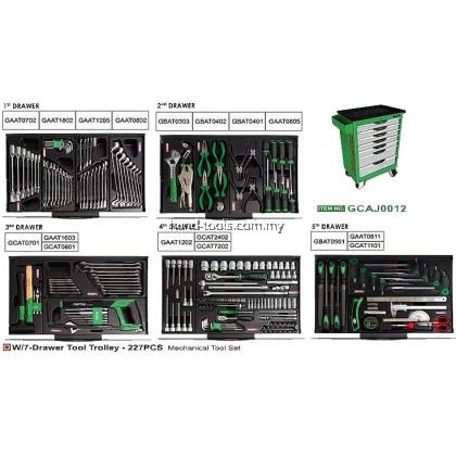 TOPTUL GCAJ0012 W/7-Drawer Tool Trolley - 227PCS Mechanical Tool Set