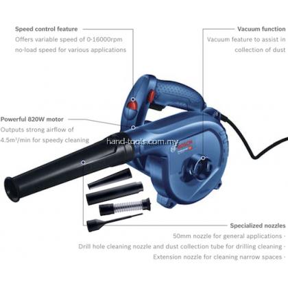 BOSCH GBL82-270 KIT PROFESSIONAL AIR BLOWER 820W 16000RPM 4.5M3/MIN 1.8KG (HEAVY DUTY)