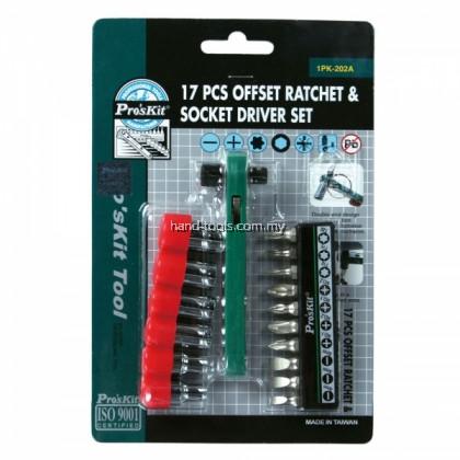Pro'sKit 1PK-202A 17 PCS Offset Ratchet & Socket Driver Set